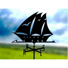 Флюгер «Корабль» стальной черный