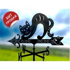 Флюгер «Кошка» стальной черный