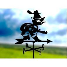 Флюгер «Кот в сапогах» стальной черный