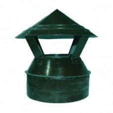 Зонт-оголовок 110/200 зеленый из оцинкованной стали