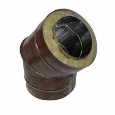 Отвод 45 140/220 н/о коричневый сэндвич нержавейка + оцинкованная сталь цветная