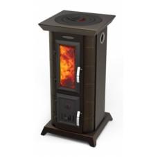 ПО СТАТИКА ТЕТРА черная бронза Термофор дровяная отопительно-варочная печь-камин