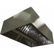 ЗВО 350x1000x2000 островной тип 3 зонт вытяжной из нержавеющей стали 0,7 мм