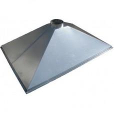 ЗВОК 1500х1500х400 h купольный зонт вытяжной из оцинкованной стали на шинорейке