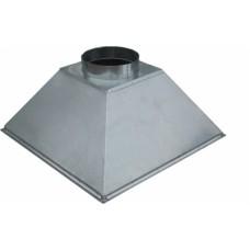 ЗВОК 600х 600х400 h купольный зонт вытяжной из оцинкованной стали на шинорейке