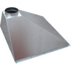 ЗВОП 700х1700х400h пристенный зонт вытяжной из оцинкованной стали на шинорейке
